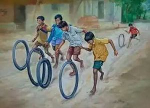 boys playing w tires